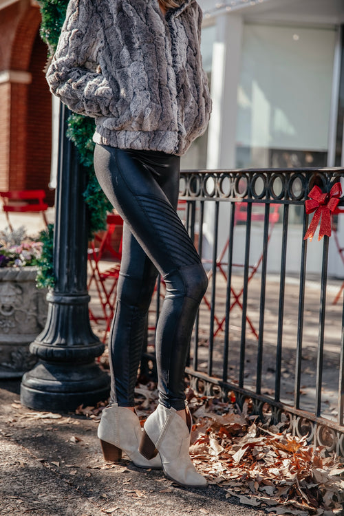 Faux Leather Moto Leggings - Very Black