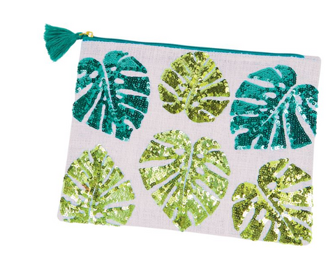 Island Flower Sequin Jute Carry All Case