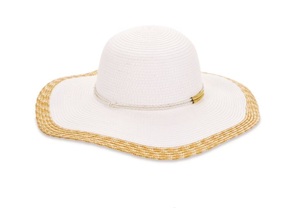 Color-Block Straw Sun Hat - White