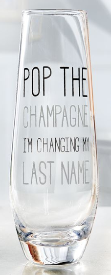 Stemless Wedding Champagne Flute - Pop The Bubbly