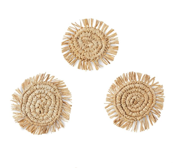 FRAYED WOVEN JUTE COASTER SET