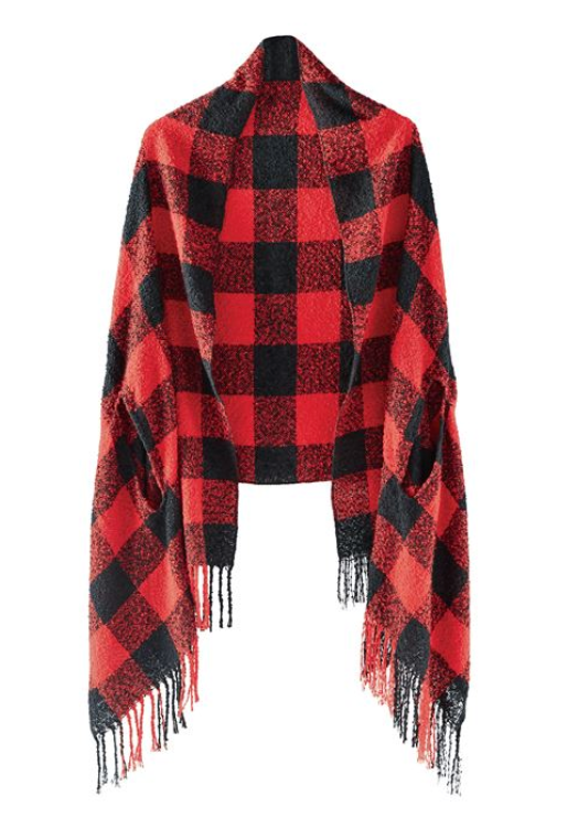 Buffalo Check Boucle Scarf Wrap - Red