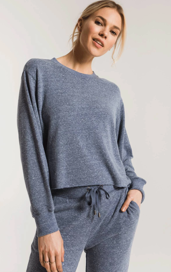 The Triblend Long Sleeve Cropped Tee - Black Iris