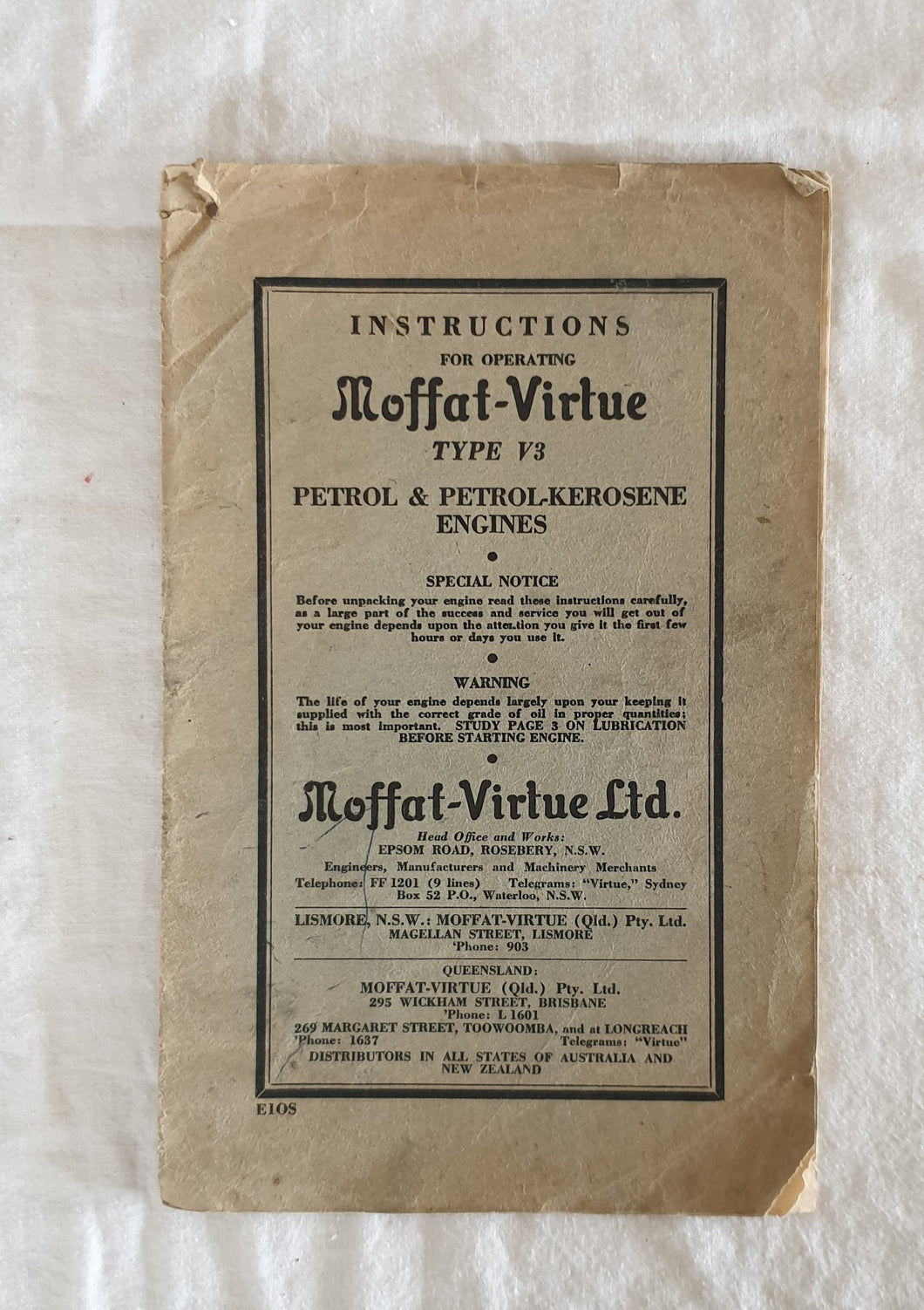 Instructions for Operating Moffat-Virtue Type V3 Petrol & Petrol-kerosene Engines