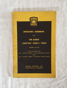 "Operator's Handbook for The Albion ""Chieftan"" Series II Truck  Model CH.3A"