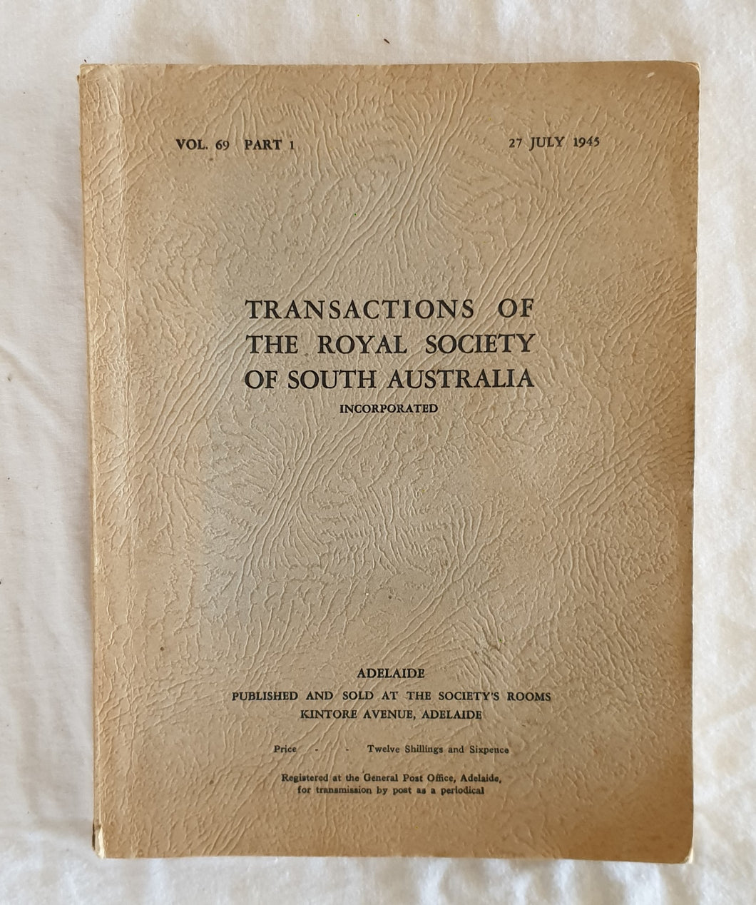 Transactions of The Royal Society of South Australia  Vol. 69 Part 1