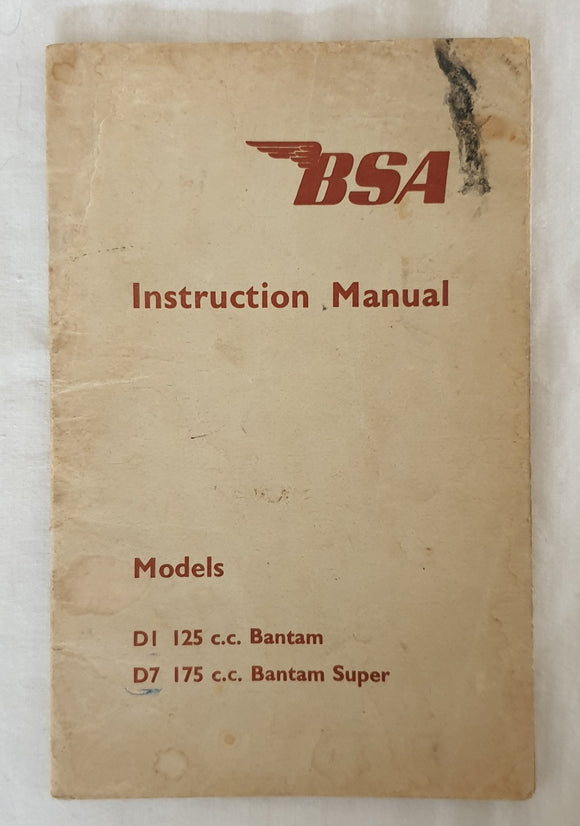 Instruction Manual for BSA D Models