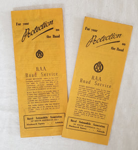 R.A.A. Road Service Leaflet