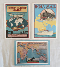 Load image into Gallery viewer, Richard Blake Postcards; PH221 India Mail; PH218 First Flight Mails;  PH245 Imperial Airways Routes 1935