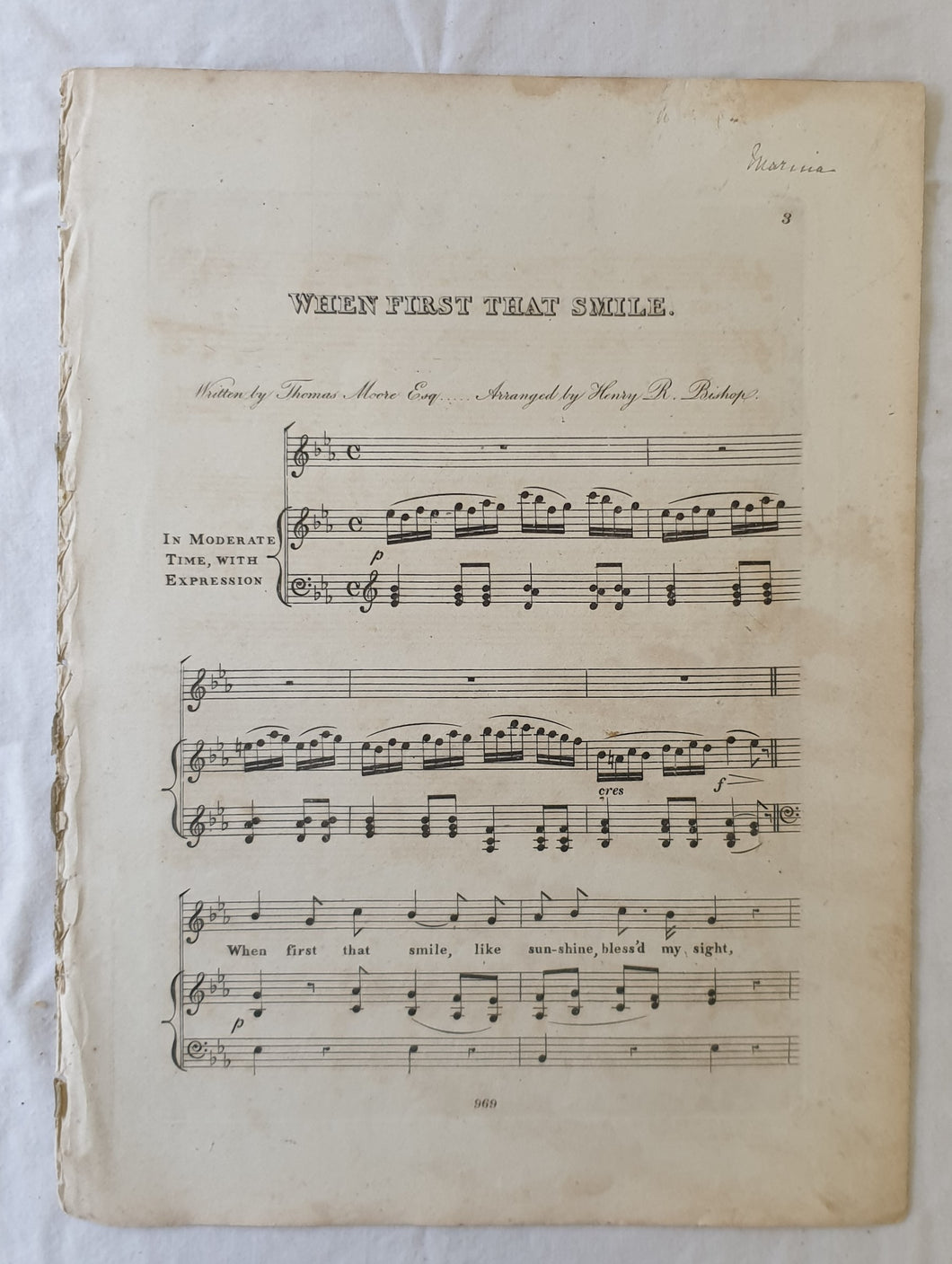 When First That Smile  Written by Thomas Moore Esq  Arranged by Henry R. Bishop
