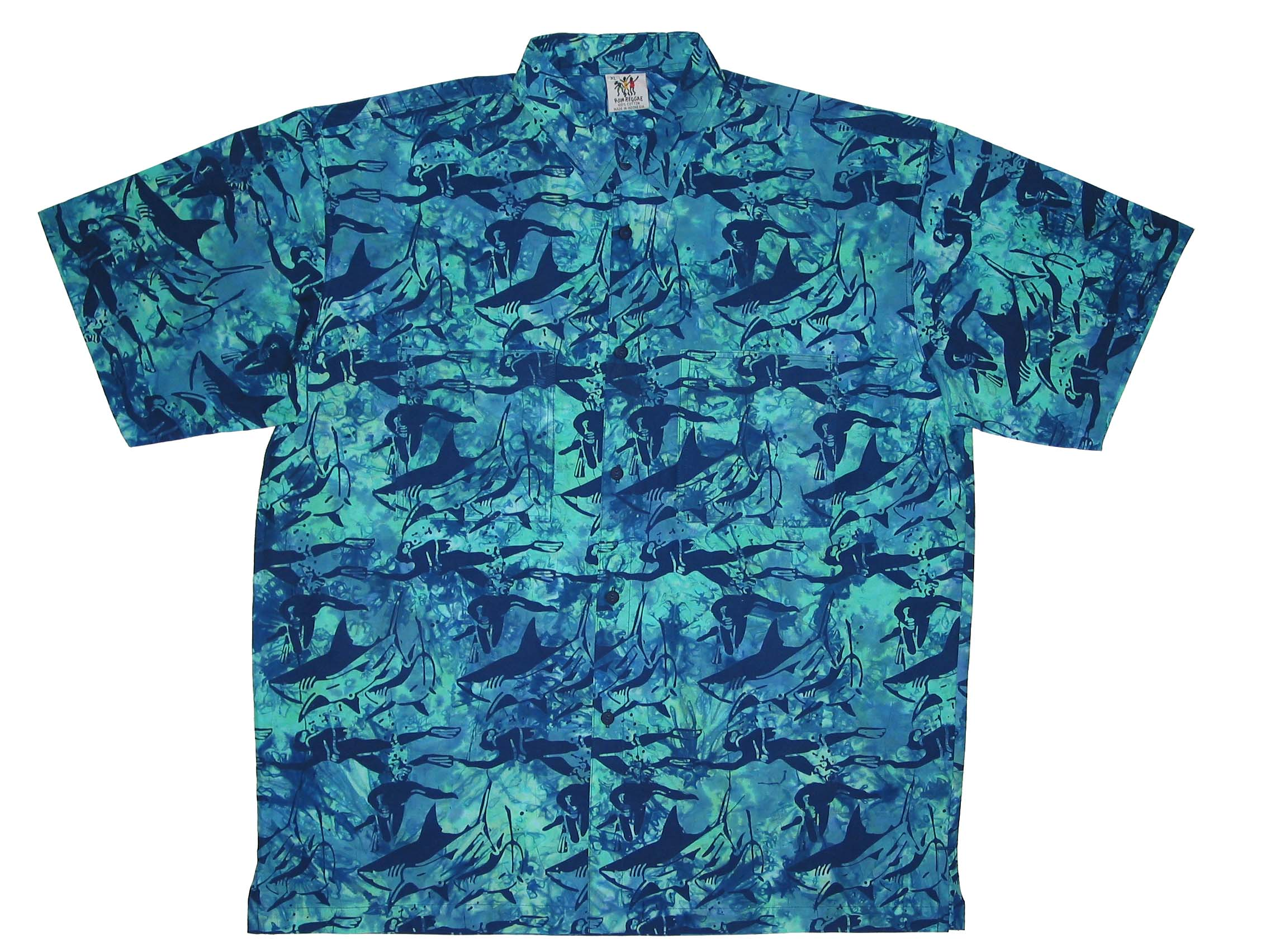 Close_Encounter_Batik_Rum_Reggae_Clothing_Handmade_Cabana_Shirt_Mako_Great_White_Hammerhead_Shark_Sharks_Vacation_Holiday_Island_Indonesia_Bali_Java_Hawaii_Caribbean_Equator_California_Tahiti_Fish_Shells_Style_Lagoon