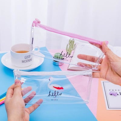 Flamingo Transparent Pvc Pencil Case Stationery Storage Pen Bag 4 Colors Cosmetic Bag