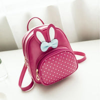 Girl Backpack Bunny Pu Leather Polka Dot Bow 4 Colors Hot Pink Girl Backpack