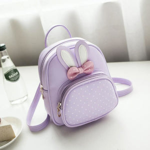 Girl Backpack Bunny Pu Leather Polka Dot Bow 4 Colors Lavender Girl Backpack