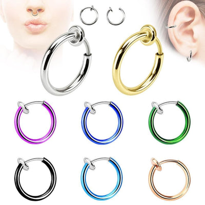 Goth Punk Nose And Lips Clip Fake Earrings Septum 14 Colors Green Earrings