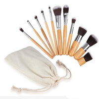 Makeup Brushes 11 Pcs Natural Bamboo Handle Set Cosmetics Kit 11Pcs Set Makeup Brush
