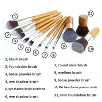 Makeup Brushes 11 Pcs Natural Bamboo Handle Set Cosmetics Kit Makeup Brush
