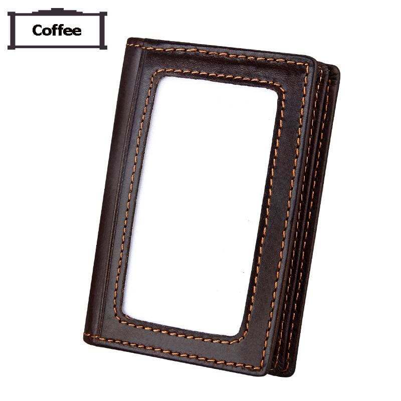Men Wallet Card Id Holder Photo Package Genuine Cow Leather Purse Large Capacity Business Card Wallet In 2 Colors Coffee Men Wallet