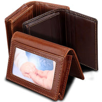 Men Wallet Card Id Holder Photo Package Genuine Cow Leather Purse Large Capacity Business Card Wallet In 2 Colors Men Wallet