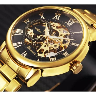 Men Watch Classic Stainless Steel Strap Golden Skeleton Mechanical Watch Men Watch