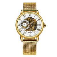 Men Watch Classic Stainless Steel Strap Golden Skeleton Mechanical Watch Mesh Gold White Men Watch