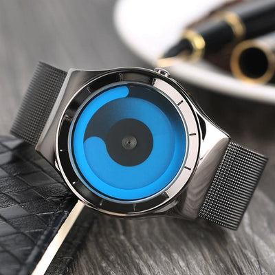 Men Watch Creative Stainless Steel Strap Turntable Swirl Watch