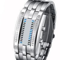 Men Watch Digital Led Display Waterproof Unique Wristwatch Silverlarge Men Watch