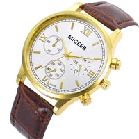 Men Watch Leather Retro Design Roman Numbers Alloy Wrist Watch 2 Colors Men Watch