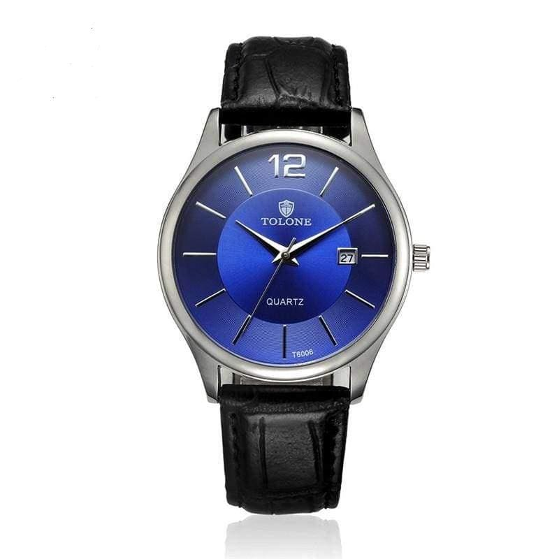Men Watch Luxury Blue Glass Leather Band Analog Quartz Watch In 2 Colors Black Men Watch