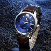 Men Watch Luxury Blue Glass Leather Band Analog Quartz Watch In 2 Colors Brown Men Watch
