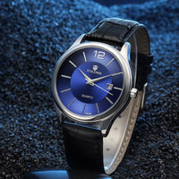 Men Watch Luxury Blue Glass Leather Band Analog Quartz Watch In 2 Colors Men Watch