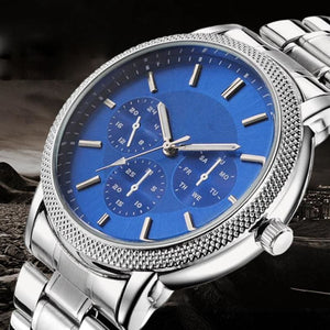 Men Watch Luxury Stainless Steel Band Quartz Casual Glass Dial Business Wrist Watch 3 Colors A Men Watch