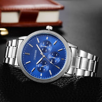 Men Watch Luxury Stainless Steel Band Quartz Casual Glass Dial Business Wrist Watch 3 Colors Men Watch