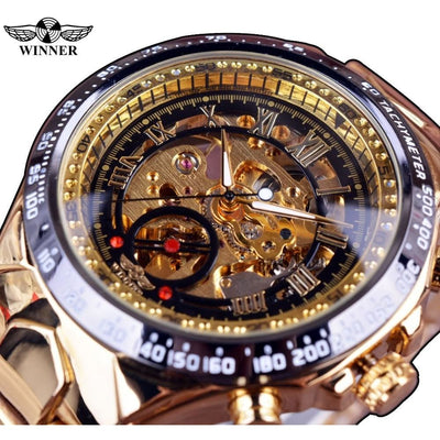 Men Watch Sport Design Bezel Golden Automatic Skeleton Watch Men Watch