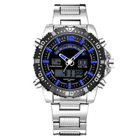 Men Watch Stainless Steel Quartz Military Double Display Date Time Sport Watch 3 Colors A Men Watch