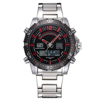 Men Watch Stainless Steel Quartz Military Double Display Date Time Sport Watch 3 Colors B Men Watch