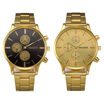 Men Watch Top Luxury Stainless Steel Band Gold Analog Quartz Wrist Watch 2 Colors Men Watch