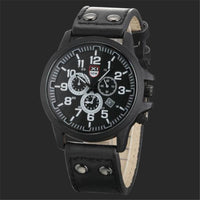 Men Watch Vintage Leather Strap Analog Quartz Army Watch In 4 Colors Black Men Watch