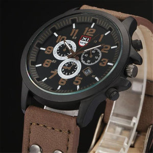 Men Watch Vintage Leather Strap Analog Quartz Army Watch In 4 Colors Coffee Men Watch
