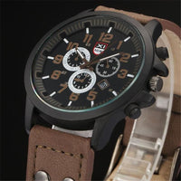 Men Watch Vintage Leather Strap Analog Quartz Army Watch In 4 Colors Men Watch