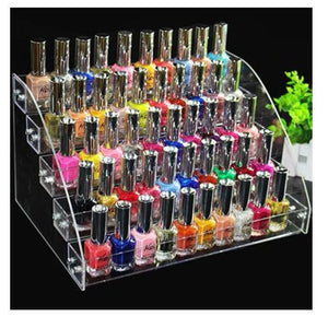 Nail Polish Rack Organizer Clear 5 Layers Display White Nail Polish Rack