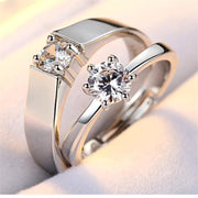 Rings For Couples Crystal Cz Stone Wedding Engagement Stainless Steel Adjustable Ring Rings