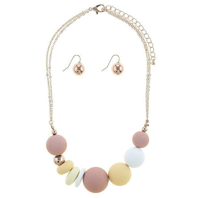 Sliding Matte Ball Necklace Set Necklace