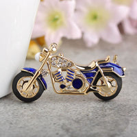 Unisex Cool Motorcycle Brooches For Boys Kids Red Enamel Badge In 2 Colors Blue Brooch