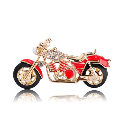 Unisex Cool Motorcycle Brooches For Boys Kids Red Enamel Badge In 2 Colors Brooch
