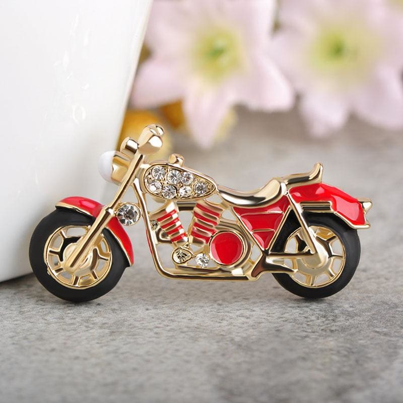 Unisex Cool Motorcycle Brooches For Boys Kids Red Enamel Badge In 2 Colors Red Brooch