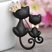 Unisex Crystal Crown Queen Smooth Black Mother Daughter Cats Brooches Brooch
