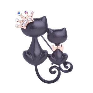 Unisex Crystal Crown Queen Smooth Black Mother Daughter Cats Brooches Cat Brooch Brooch