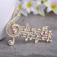 Unisex Music Note Large Crystal Brooch In 2 Colors Gold Brooch
