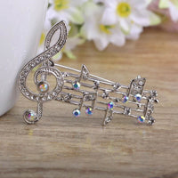 Unisex Music Note Large Crystal Brooch In 2 Colors Silver Brooch